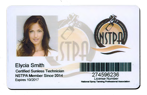 Spray Tan License ID Card | Sunless Tanning Certified Technician Badge